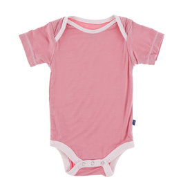 Kickee Pants Solid Short Sleeve One Piece Desert Rose with Macaroon 0-3m