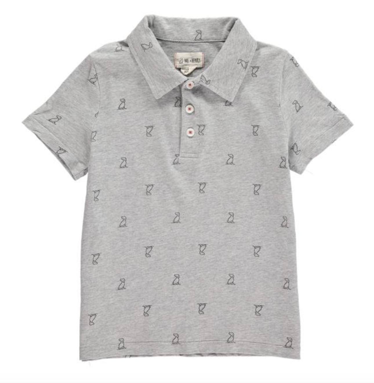 Me + Henry Grey Henry Print Polo Shirt