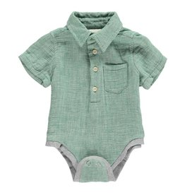 Me + Henry Green Woven SS Onesie