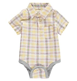 Me + Henry Yellow Plaid Woven SS Linen Onesie