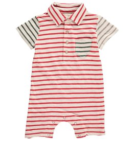 Me + Henry Red Multi Stripe Polo Romper