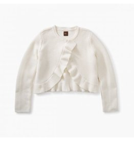 Tea Collection Ruffle Sweater Cardigan Chalk M