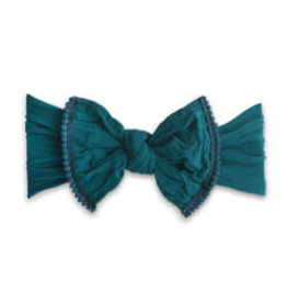 Baby Bling Bows Trimmed Classic Knot Mini Pom - Emerald
