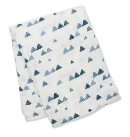 Lulujo Swaddle Blanket- Navy Triangles