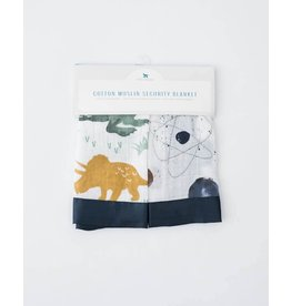 Little Unicorn Cotton Muslin Security Blankets (2 pack) - Dino Friends