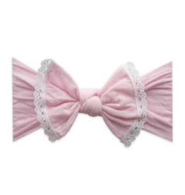 Baby Bling Bows Trimmed Classic Knot, Pink White Lace