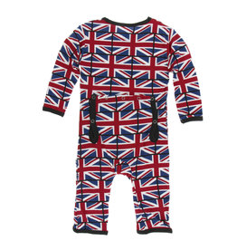 Kickee Pants Print Coverall with Snaps Union Jack 6-9M