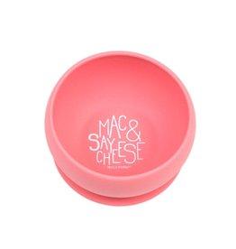 Bella Tunno Suction Bowl, Pink Say Mac and Cheese
