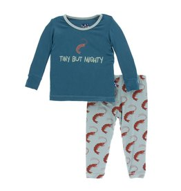 Kickee Pants Print Long Sleeve Pajama Set Jade Shrimp 2T