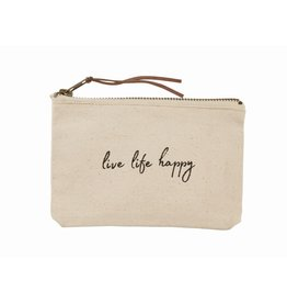 Mud Pie Live Life Happy Canvas Pouch