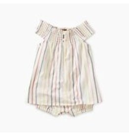 Tea Collection Stripe Smocked Romper - Paperwhite