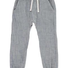 Me + Henry Cotton Tie-Cord Pants, Blue 0-3M