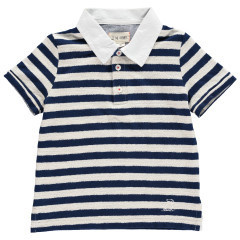 Me + Henry Navy Cotton/Poly Striped Polo 4-5Y