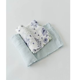 Little Unicorn Deluxe Swaddle - 2 Pack - Blue Windflower