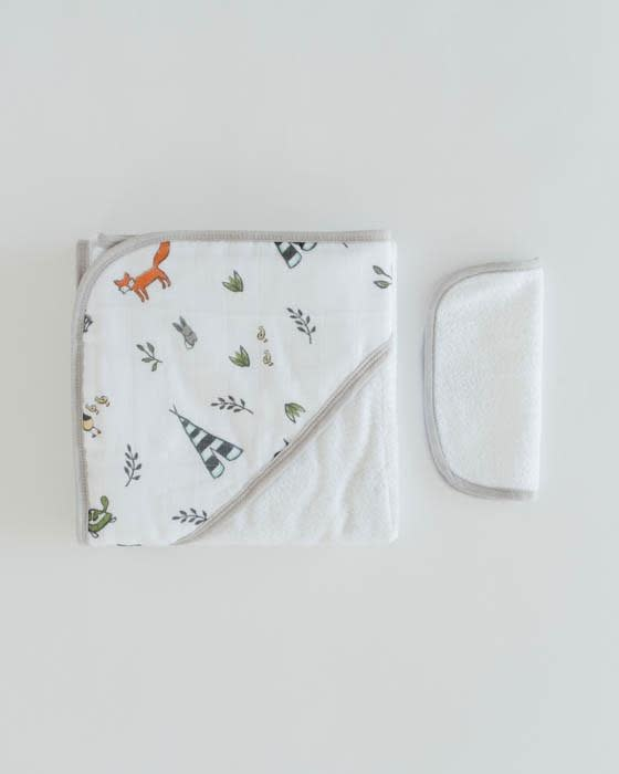 Little Unicorn Cotton Hooded Towel Set, Forest Friends
