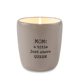 Mud Pie Mom a title just above Queen Ceramic Candle Taupe