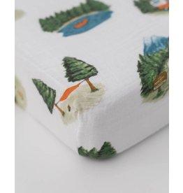 Little Unicorn Cotton Muslin Crib Sheet - Happy Camper