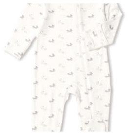Angel Dear Zipper Footie - Grey Baby Fox 6-9M