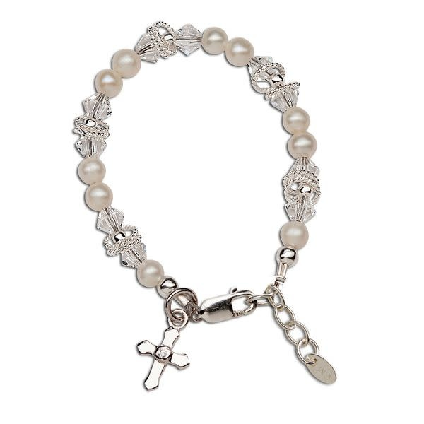 Cherished Moments Krista - M Sterling Silver Bracelet With Genuine Freshwater Pearls, Swarovski Elements Crystal, Silver Rings With A Silver Cross