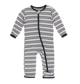 Kickee Pants Print Coverall with Zipper India Pure Stripe