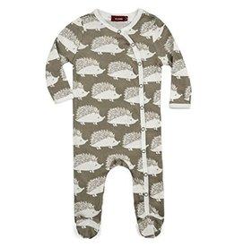 Milkbarn Kids Organic Footed Romper - Grey Hedgehog 0-3M