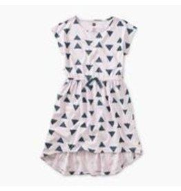 Tea Collection Printed Hi-Lo Tie Waist Dress - Ikat Triangles 3T