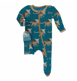 Kickee Pants Print Footie with Zipper Heritage Blue Kosmoceratops