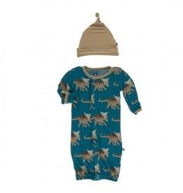 Kickee Pants Print Gown Converter & Knot Hat Set Heritage Blue Kosmoceratops 0-3M