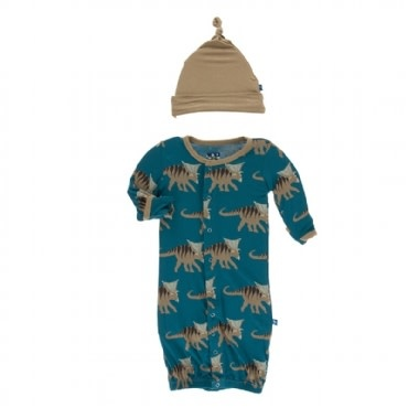 Kickee Pants Print Gown Converter & Knot Hat Set Heritage Blue Kosmoceratops 0-3M