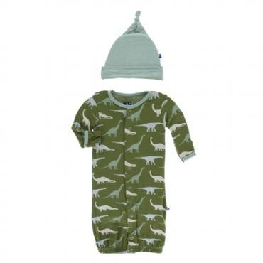 Kickee Pants Print Gown Converter & Knot Hat Set Moss Sauropods 0-3M