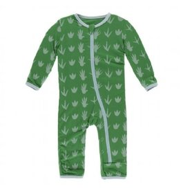 Kickee Pants Print Coverall with Zipper Dino Tracks