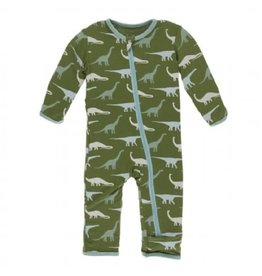 Kickee Pants Print Coverall with Zipper Moss Sauropods