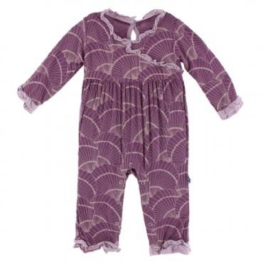 Kickee Pants Print L/S Kimono Ruffle Romper Shell Fossils