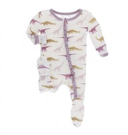Kickee Pants Print Classic Ruffle Footie with Zipper Natural Sauropods