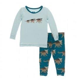 Kickee Pants Print L/S Pajama Set Heritage Blue Kosmoceratops Family