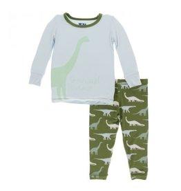 Kickee Pants Print L/S Pajama Set Moss Goodnight Dinosaur