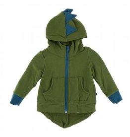 Kickee Pants Solid Fleece Zip-Front Dino Hoodie Moss with Heritage Blue