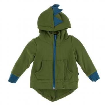Kickee Pants Solid Fleece Zip-Front Dino Hoodie Moss with Heritage Blue
