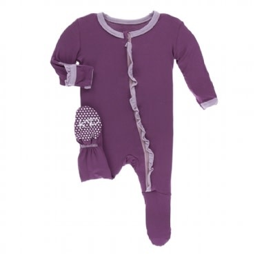 Kickee Pants Solid Classic Ruffle Footie with Zipper Amethyst with Sweet Pea