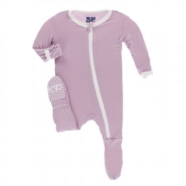 Kickee Pants Solid Footie with Zipper Sweet Pea with Natural