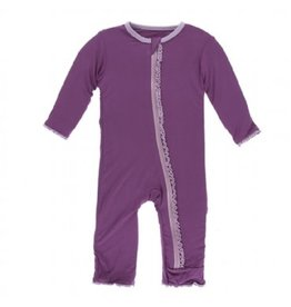 Kickee Pants Solid Classic Ruffle Coverall with Zipper Amethyst with Sweet Pea