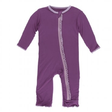 Kickee Pants Solid Muffin Ruffle Coverall with Zipper Amethyst with Sweet Pea