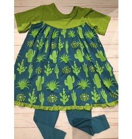 Kickee Pants Print Classic S/S Swing Dress + Legging Set Seagrass Cactus 2T