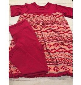 Kickee Pants Print Classic S/S Swing Dress + Legging Set Strawberry Mayan Pattern 3T