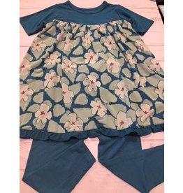 Kickee Pants Print Classic S/S Swing Dress + Legging Set Oasis Hibiscus 2T