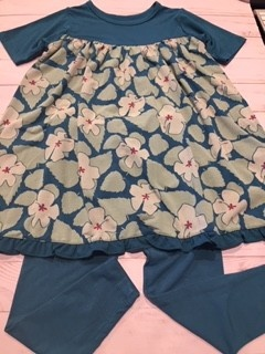 Kickee Pants Print Classic S/S Swing Dress + Legging Set Oasis Hibiscus 3T