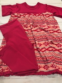 Kickee Pants Print Classic S/S Swing Dress  + Legging Set Strawberry Mayan Pattern XS-5/6