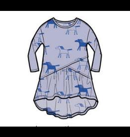 Tea Collection Printed Asymmetrical Wrap Dress -Lilac Mist  Highland Horses