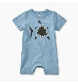 Tea Collection Shark Graphic Romper - Blue Tide  9-12M