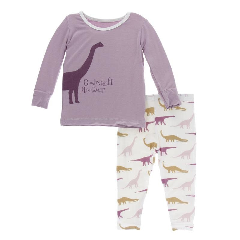 Kickee Pants Print L/S Pajama Set Natural Goodnight Dinosaur